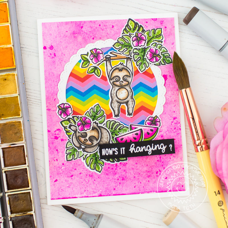 "Sunny Studio Stamps Silly Sloths ""How's It Hanging?"" Hot Pink & Rainbow Chevron Card by Mona Toth"