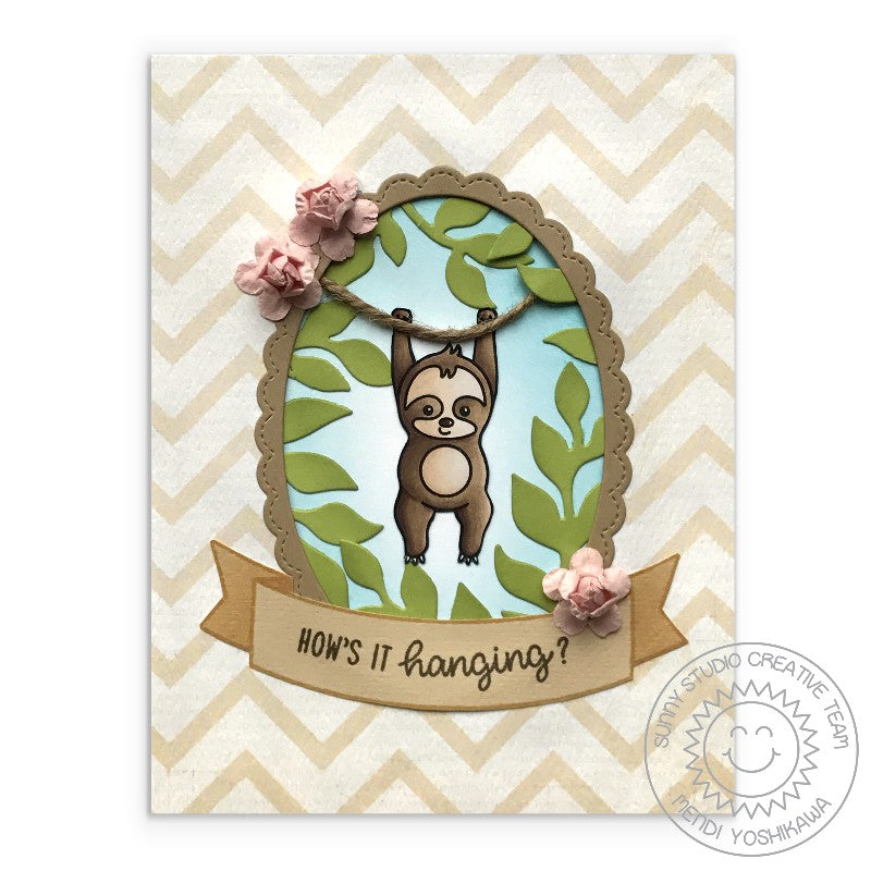 Sunny Studio Stamps Silly Sloths How's It Hanging? Sloth Hanging by Rope Jungle Card by Mendi Yoshikawa