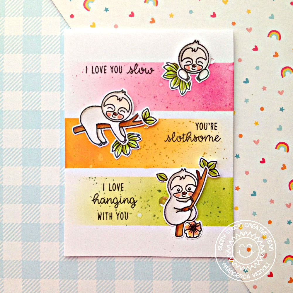 Sunny Studio Stamps Silly Sloths Pink, Orange & Green Colorblock Summer Card by Franci