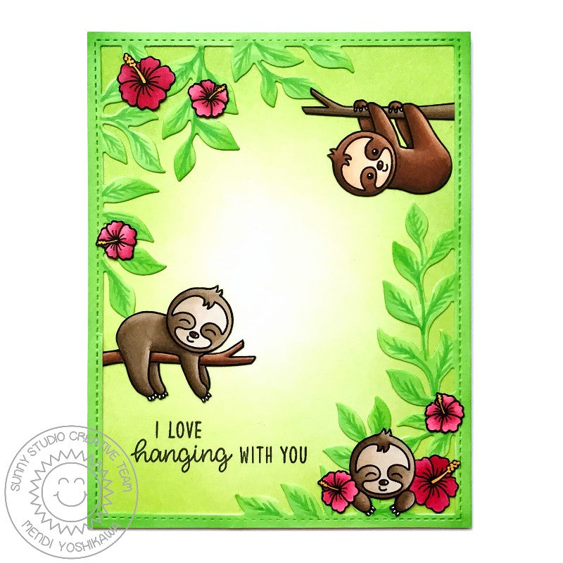 Sunny Studio Stamps Silly Sloths Red Hibiscus Jungle Card by Mendi Yoshikawa (using Botanical Backdrop die)