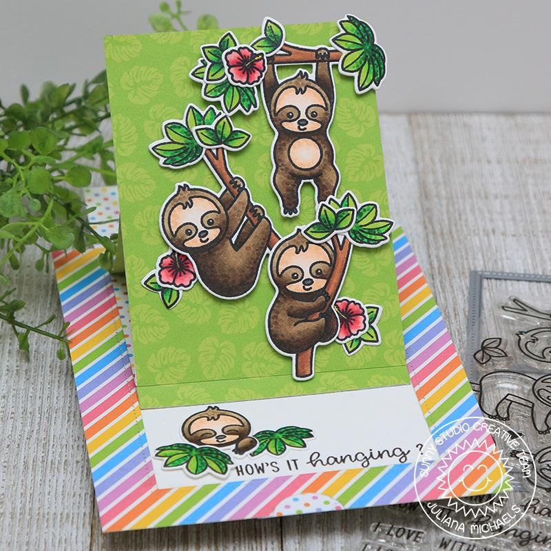 "Sunny Studio Stamps Silly Sloths ""How's It Hanging?"" Sliding Window Pop-up Interactive Card"
