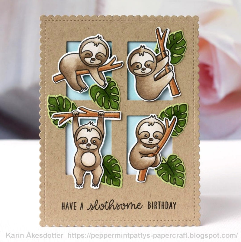Sunny Studio Stamps Silly Sloths Slothsome Birthday Grid-style card by Karin