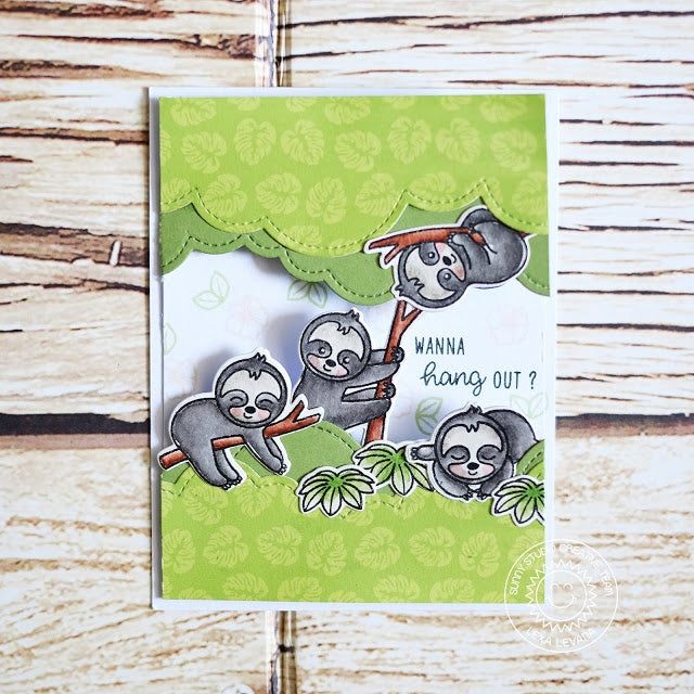 "Sunny Studio Stamps Silly Sloths ""Wanna Hang Out?"" Handmade Peek-a-boo Interactive Card"
