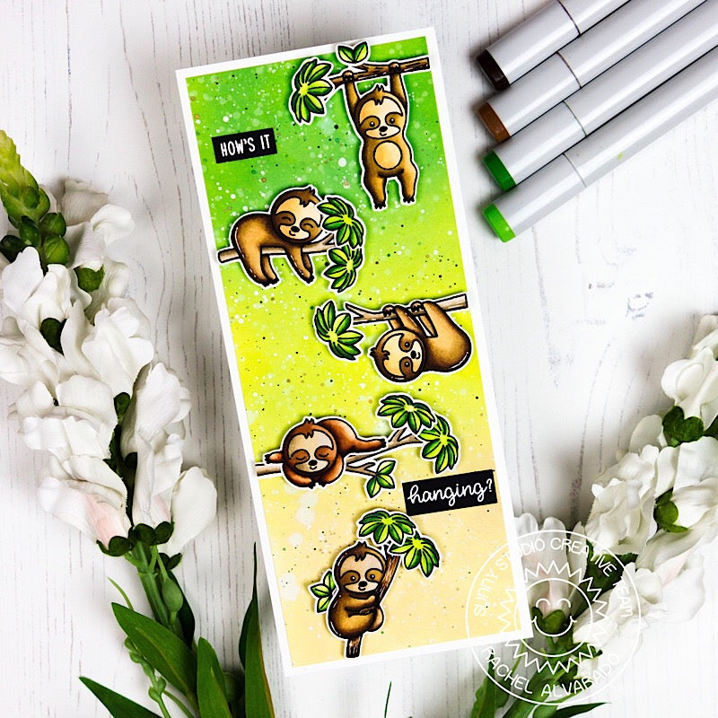 Sunny Studio Stamps Silly Sloths How's It Hanging? Elongated Yellow & Green Ombre Card by Rachel Alvardo