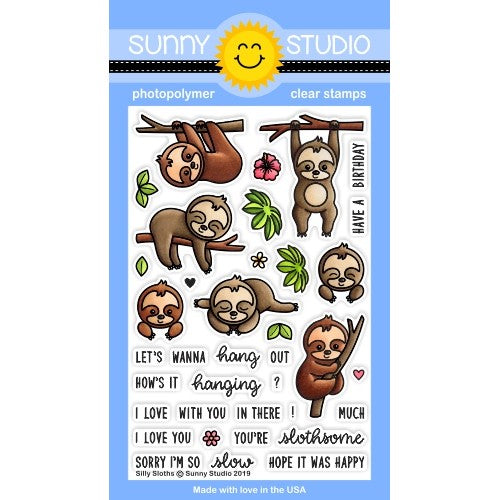 Sunny Studio Stamps Silly Sloths 4x6 Clear Photopolymer Stamp Set