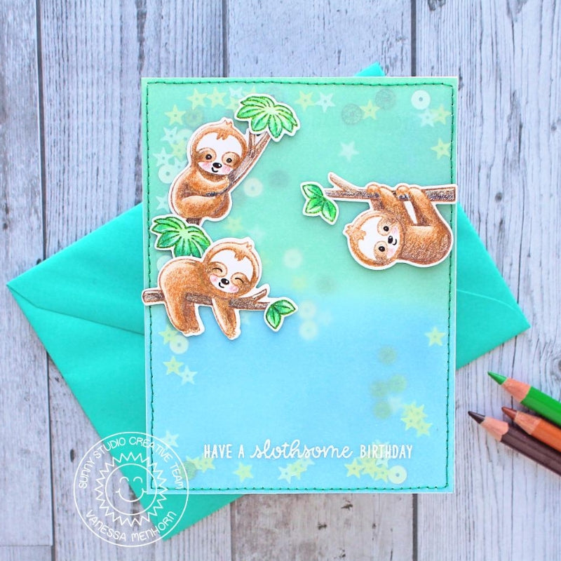 Sunny Studio Stamps Silly Sloths Vellum Sequin Shaker Card by Vanessa Menhorn