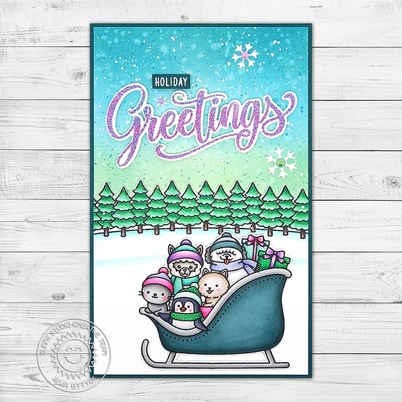 Sunny Studio Holiday Greetings Lavender & Green Animals in Sleigh Christmas Holiday Card (using Sledding Critters 3x4 Clear Stamps)