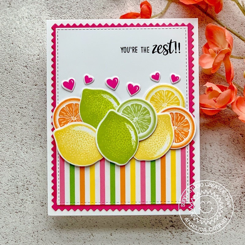 Sunny Studio Stamps Orange, Lemon & Lime Slice Card (using striped paper from Summer Splash 6x6 paper pack)