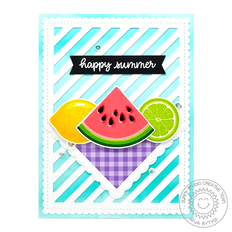 Sunny Studio Stamps Slice of Summer Watermelon & Lemon Lime Fruit Picnic Card
