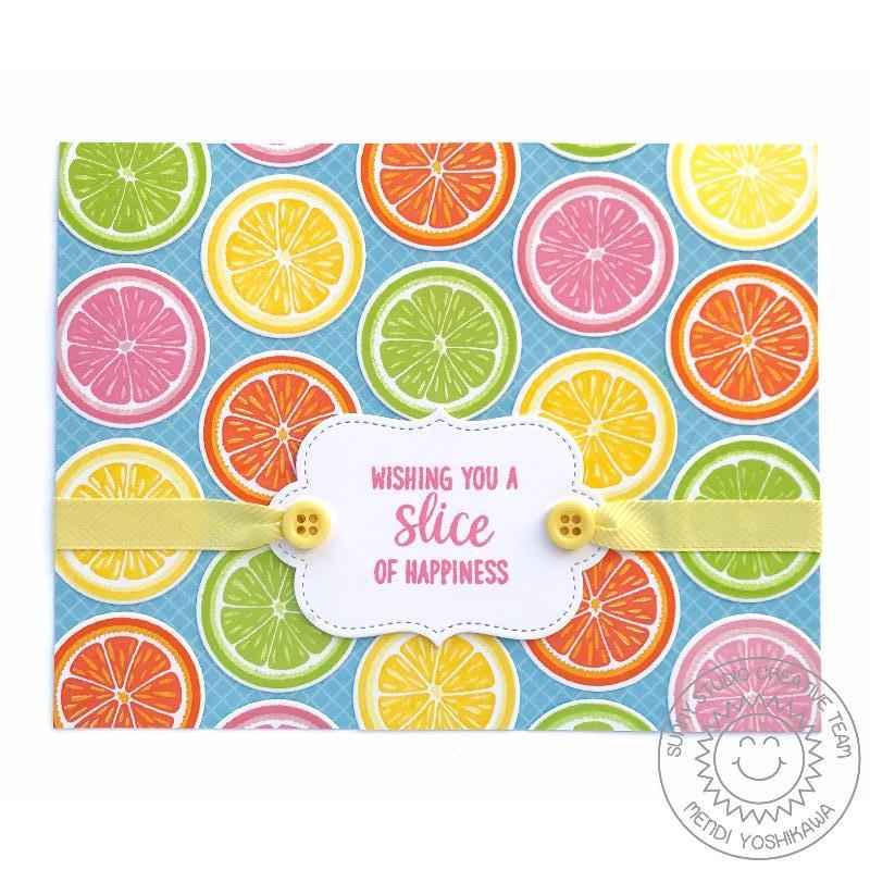 Sunny Studio Stamps Slice of Summer Citrus Slice of Happiness Card by Mendi Yoshikawa