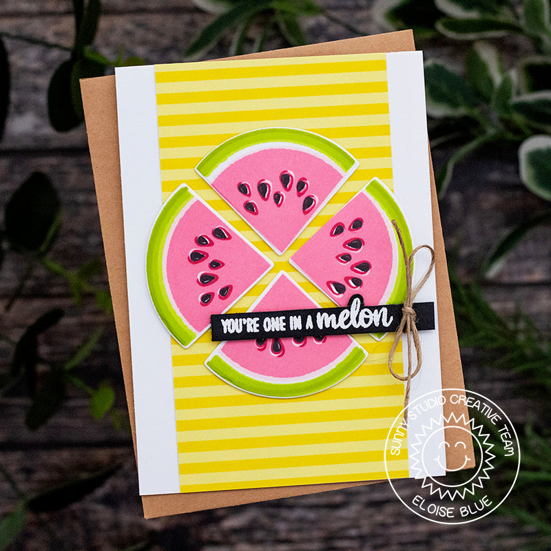 Sunny Studio stamps Slice of Summer Watermelon You're One In A Melon Summer Card by Eloise Blue