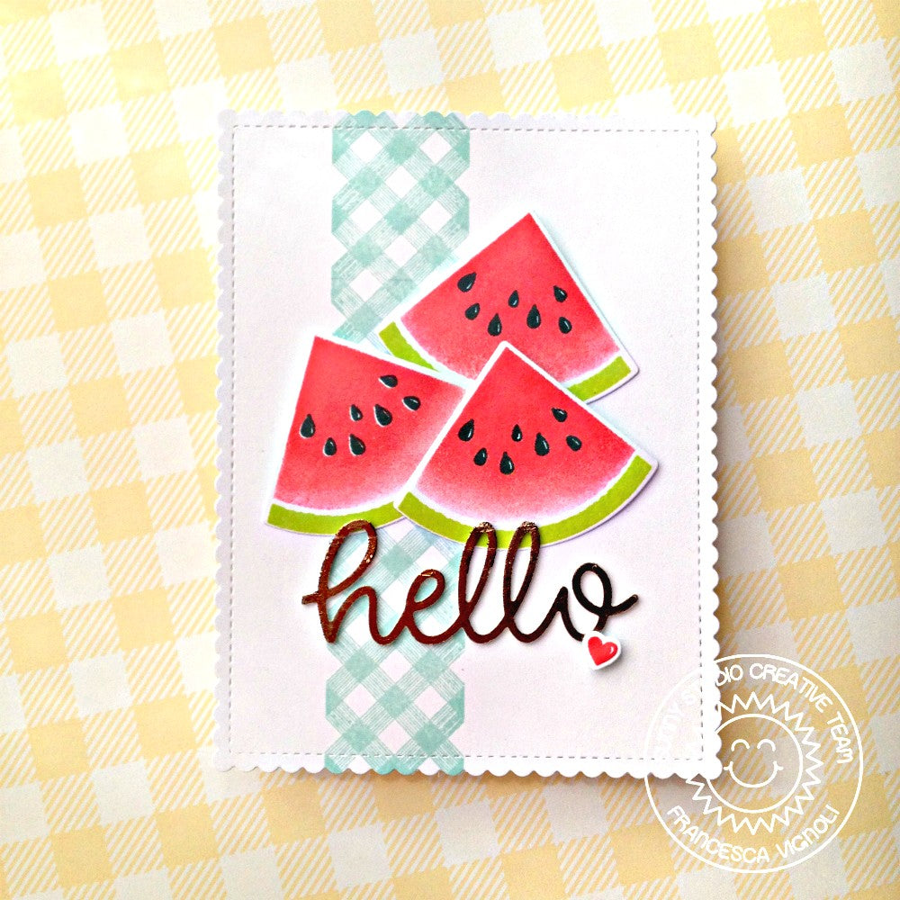 Sunny Studio Stamps Slice of Summer Watermelon Gingham Hello Card