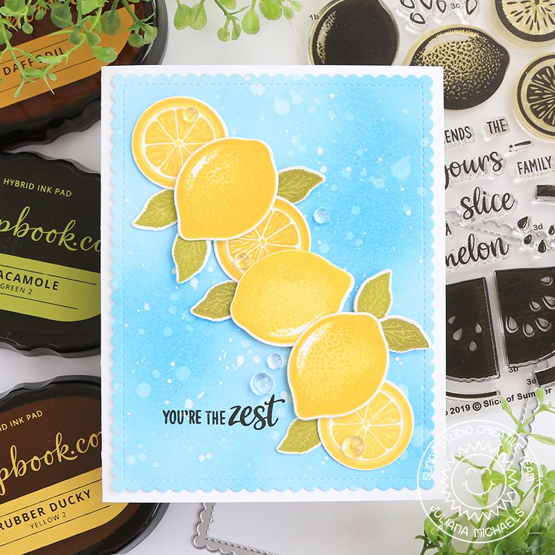 Sunny Studio Stamps Slice of Summer Aqua & Yellow You're the Zest Lemon Slice Card