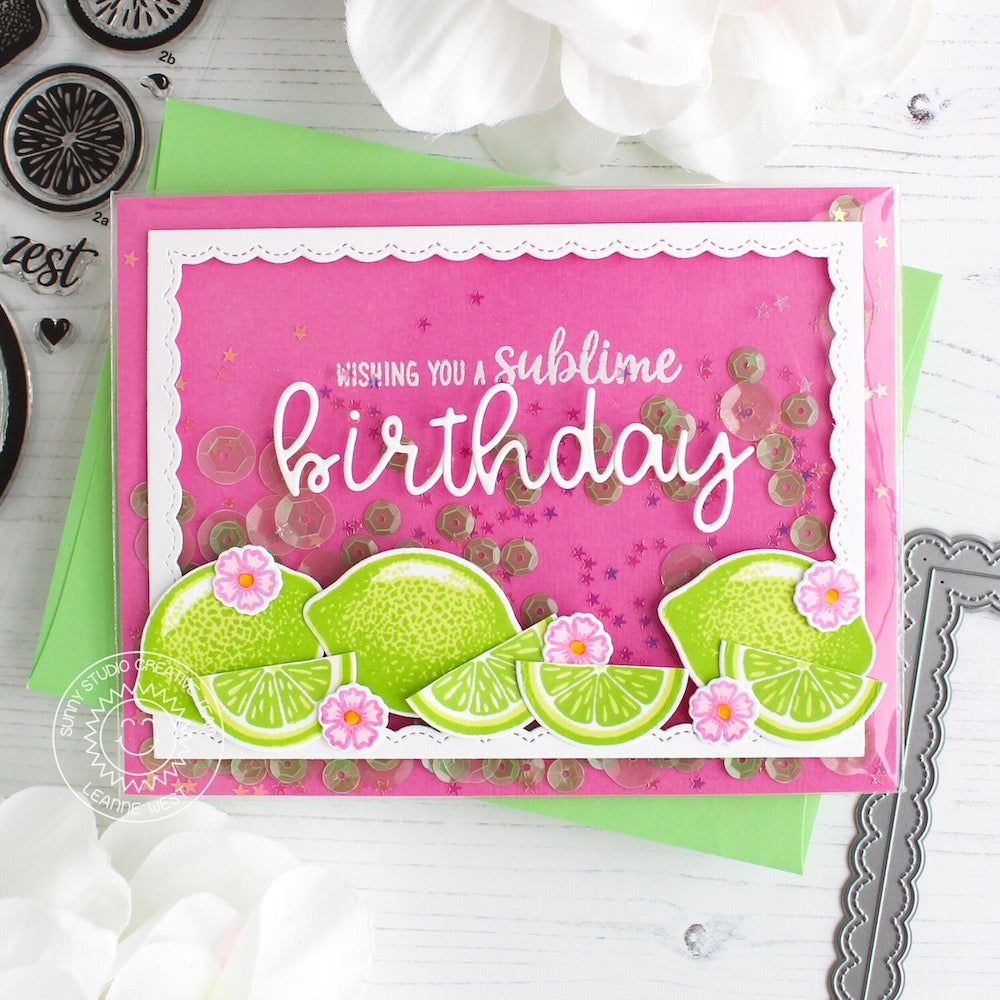 Sunny Studio Stamps Pink & Green Lemon Lime Sublime Birthday Card (with custom sentiment using Loopy Letters alphabet dies)