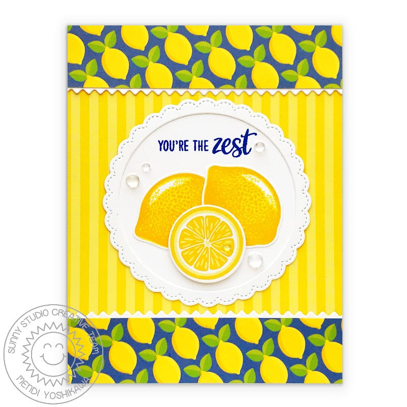 "Sunny Studio Stamps Lemon Slice ""You're The Zest"" Card (using Summer Splash 6x6 Patterned Paper)"