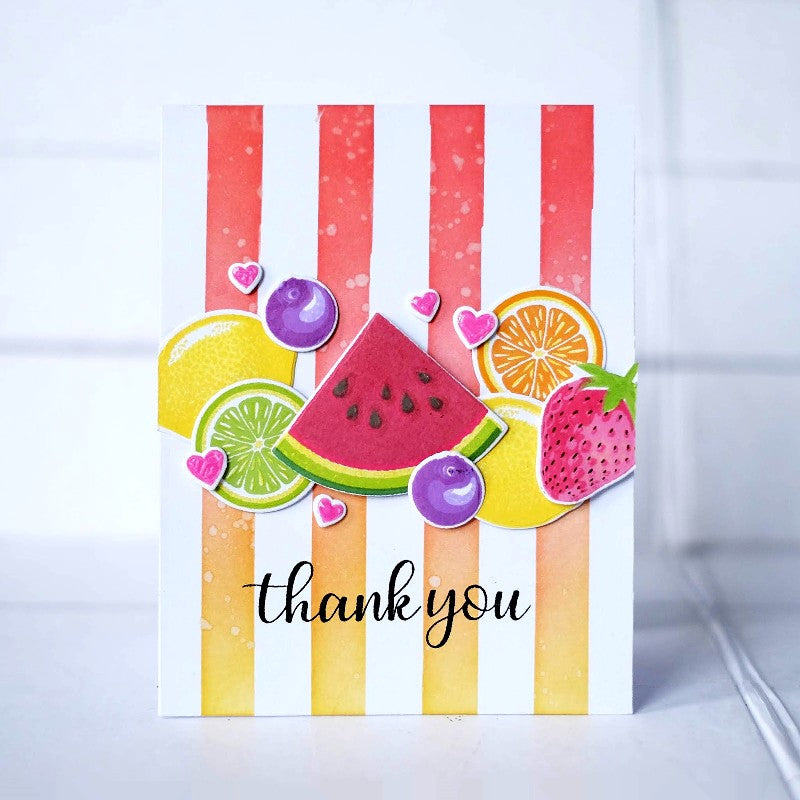 Sunny Studio Stamps Slice of Summer Watermelon, Orange, Lemon, Lime & Strawberry Striped Summer Thank You Card