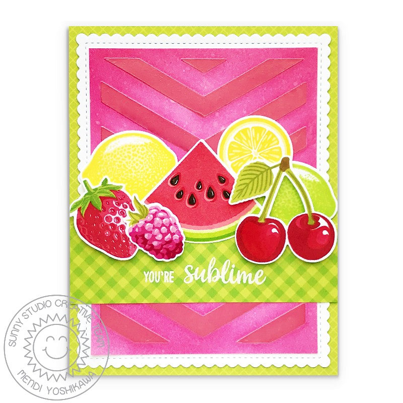 Sunny Studio Slice of Summer Fruit Themed You're Sublime Card (using Frilly Frames Chevron Dies)