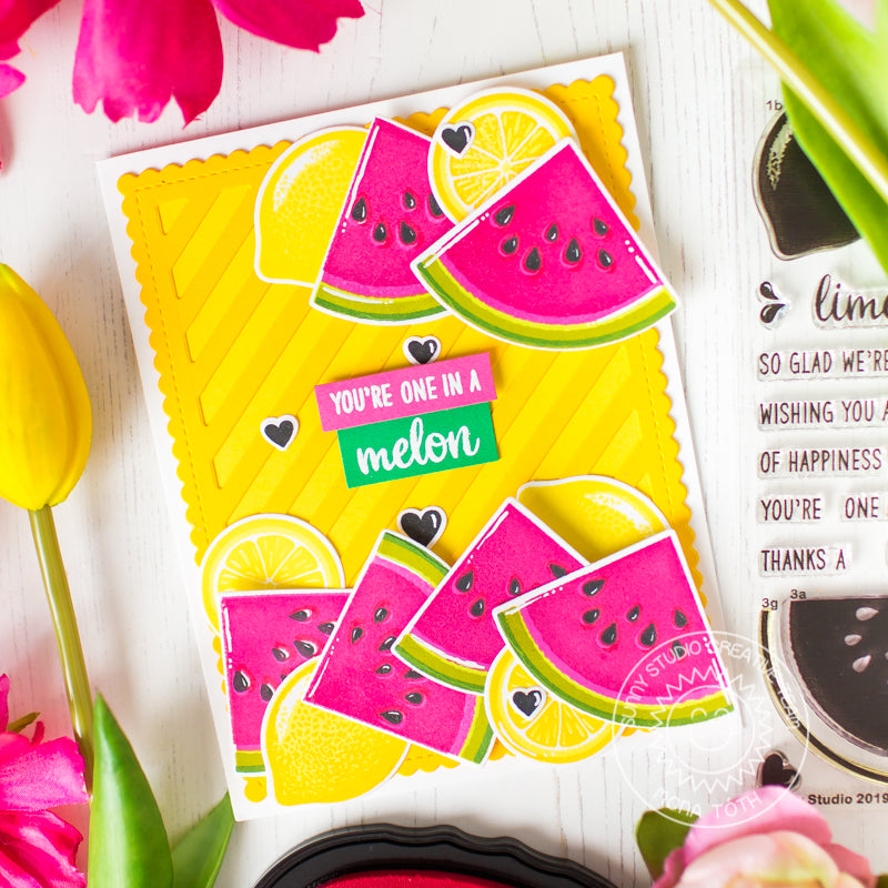 Sunny Studio Stamps Slice of Summer Pink & Yellow Lemons & Watermelon Card