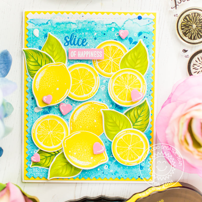 Sunny Studio Stamps Slice of Summer Layered Lemons Watercolor Card