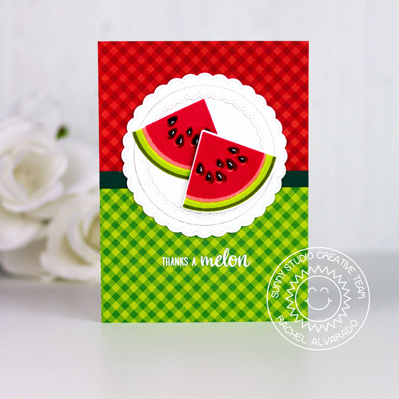 Sunny Studio Stamps Slice of Summer Red & Green Gingham Watermelon Card by Rachel