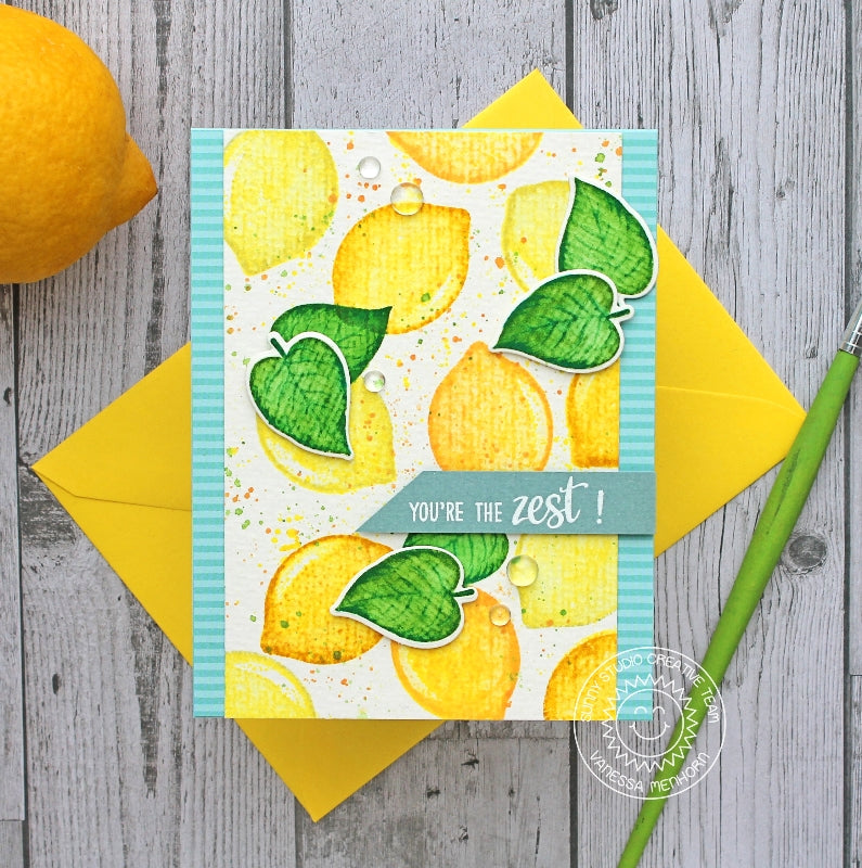 Sunny Studio Stamps Slice of Summer You're the Zest Watercolor Lemon Card by Vanessa Menhorn