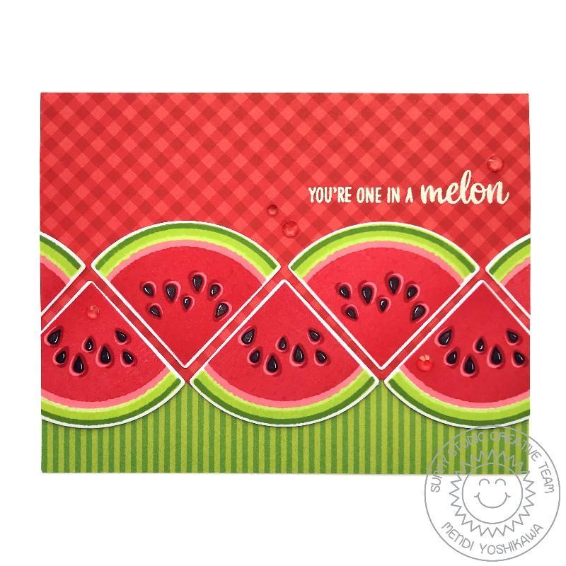 Sunny Studio Stamps Slice of Summer Watermelon You're One In A Melon Layered Stamp Card