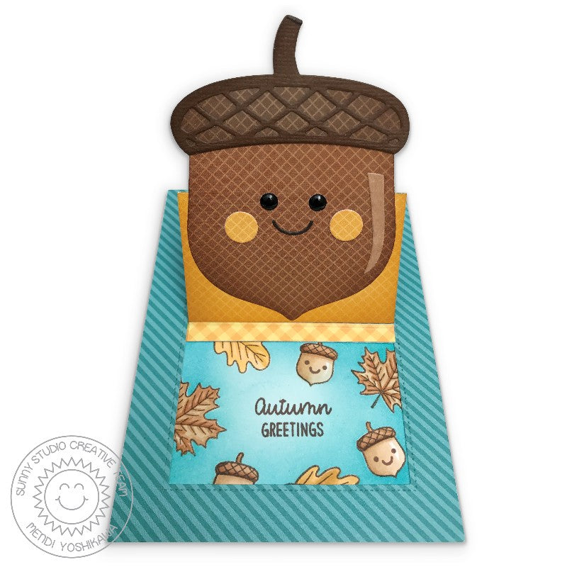 Sunny Studio Stamps Sliding Window Fall Leaves Nutty For You Pop-up Acorn Card by Mendi Yoshikawa