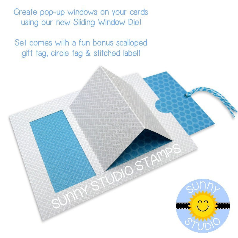Sunny Studio Stamps Sliding Window Pop-up Interactive Card Example