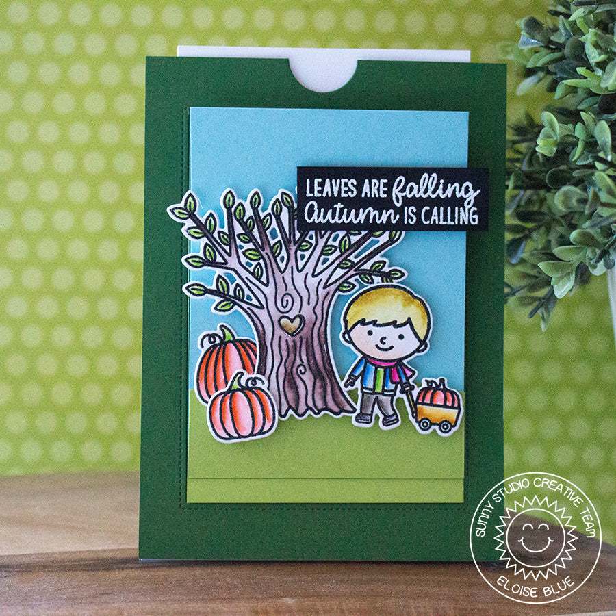 Sunny Studio Stamps Fall Kiddos Autumn Pumpkins and Wagon Card by Eloise