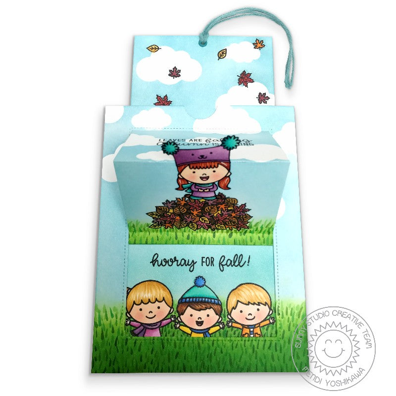 Sunny Studio Stamps Fall Kiddos Kids with Pile of Leaves Autumn Pop-up Card