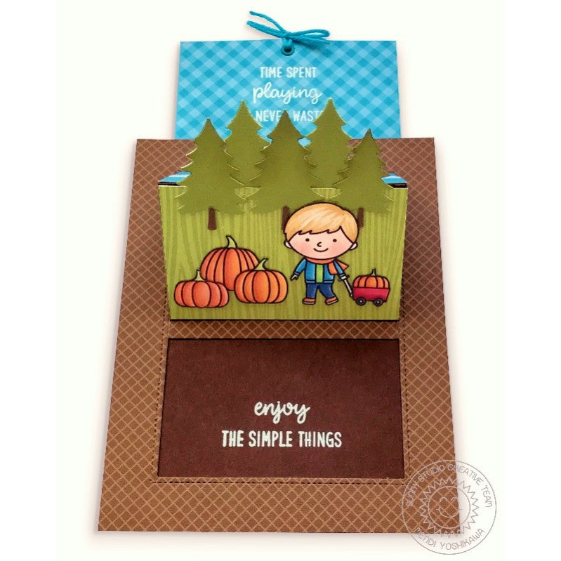 Sunny Studio Stamps Fall Pumpkin Pop Up Card featuring Gingham Jewel Tones 6x6 Patterned Paper