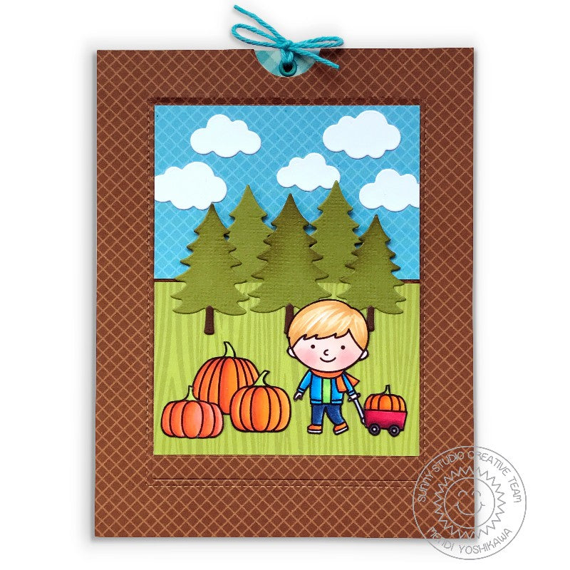 Sunny Studio Stamps Fall Kiddos Boy with Wagon at Pumpkin Patching Sliding Pop-up Window Card