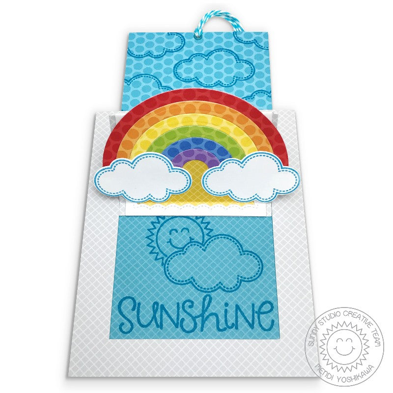 Sunny Studio Stamps Sliding Window Rainbow, Clouds & Sunshine Pop-up Card by Mendi Yoshikawa