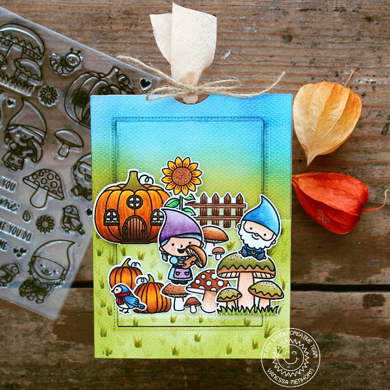 Sunny Studio Stamps Fall Gnome Card by Vanessa Menhorn featuring Sliding Window Dies