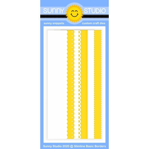 "Sunny Studio 6-piece Slimline Basic Borders 9"" Scalloped Scallop, Basic Stitch Stitched & Ric-Rac Metal Cutting Dies for Scrapbooking and Slim Style Cards"