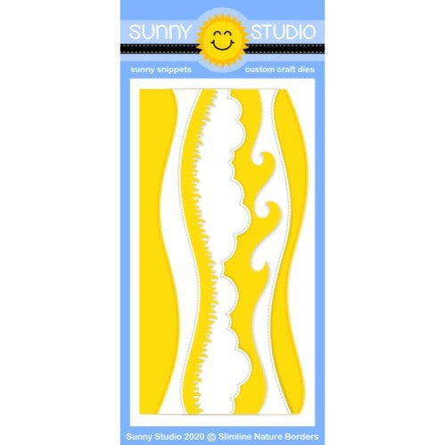 Sunny Studio Stamps 5-piece Slimline Nature Borders Metal Cutting Dies including Snow Slope, Hillside, Stitched Clouds, Grass border and Wave Border