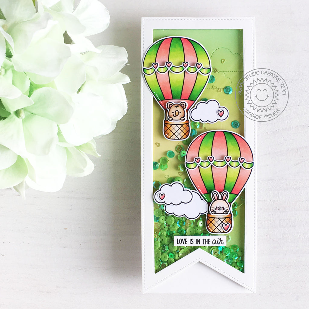 Sunny Studio Stamps Love Is In The Air Hot Air Balloons Handmade Shaker Card (using Slimline Pennants Metal Cutting Dies)