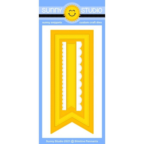 Sunny Studio Stamps Slimline Pennant Banner Metal Cutting Dies with 2 Scalloped Borders