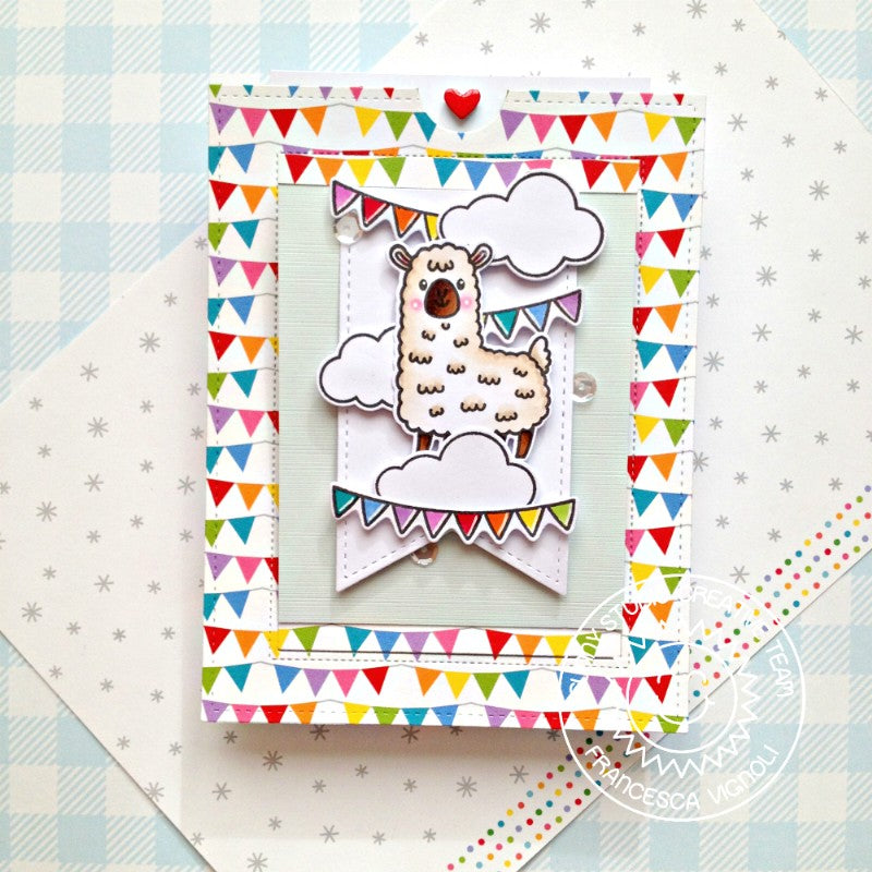 Sunny Studio Alpaca Llama with Banners Handmade Birthday Card (using Lovable Llama 2x3 Clear Stamps)