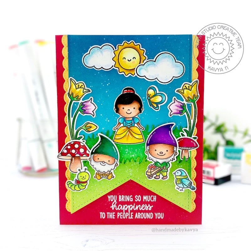 Sunny Studio You Bring So Much Happiness to the People Around You Snow White & Dwarfs Princess Themed Card (using Inside Greetings Birthday 4x6 Clear Stamps)