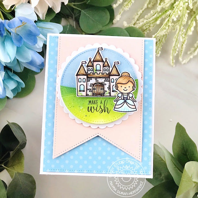 Sunny Studio Make A Wish Princess with Castle Pastel Blue Polka-dot Card (using Slimline Pennant Dies)