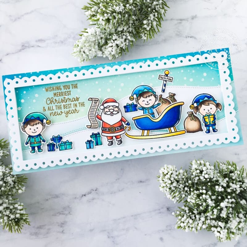 Sunny Studio Stamps Santa Claus with Elves and Sleigh Handmade Holiday Christmas Card (using Slimline Scalloped Frame Metal Cutting Dies)