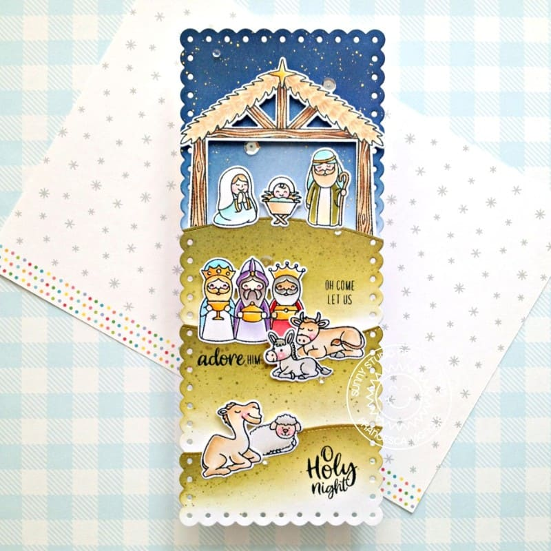 Sunny Studio Nativity Christian Themed Slimline Handmade Holiday Christmas Card (using Holy Night 4x6 Clear Stamps)