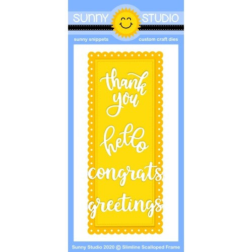Sunny Studio Stamps 6-piece Slimline Scalloped Stitched Frame Metal Cutting Dies for Slim Style Cards with Hello, Thank You, Congrats and Greetings Script Word Dies