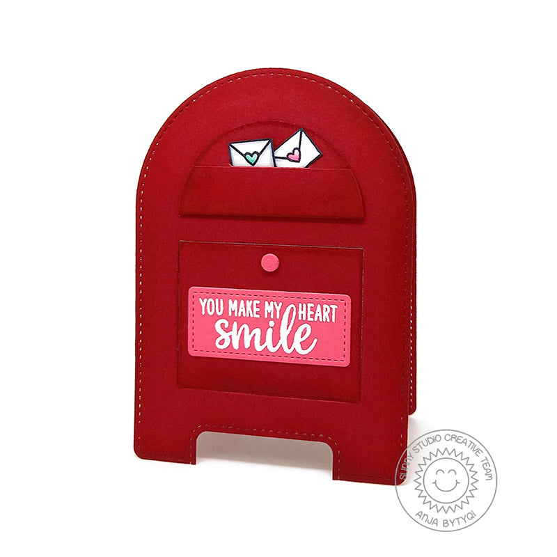Sunny Studio You Make My Heart Smile Red Mailbox Shaped Lift The Flap Interactive Valentine's Day Card (using Stitched Arch Metal Cutting Dies)