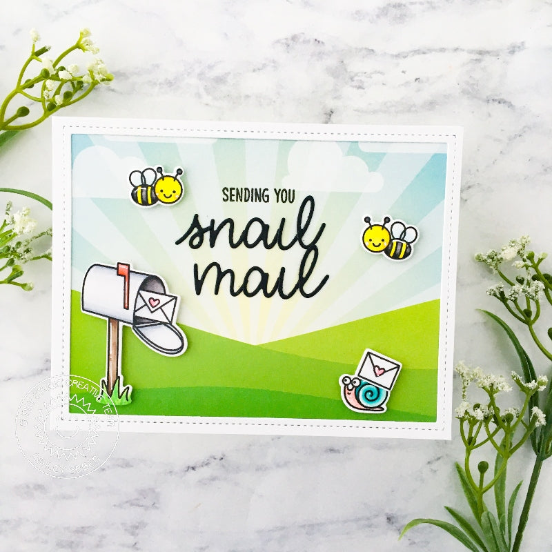Sunny Studio Snail Mail with Mailbox & Honey Bee Bumblebee Thinking of You Card (using Just Bee-cause 2x3 Clear Stamps)
