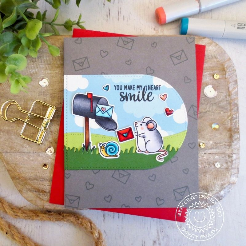 Sunny Studio You Make My Heart Smile Mouse with Letter & Mailbox Card (using Stitched Arch Metal Cutting Dies)