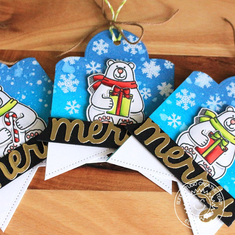 Sunny Studio Stamps Snow Flurries Polar Bear Holiday Gift Tags