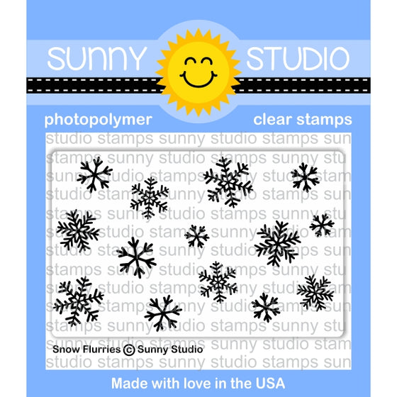 Sunny Studio Stamps Snow Flurries Winter Holiday 2x3 Photo-polymer Clear Stamp Set