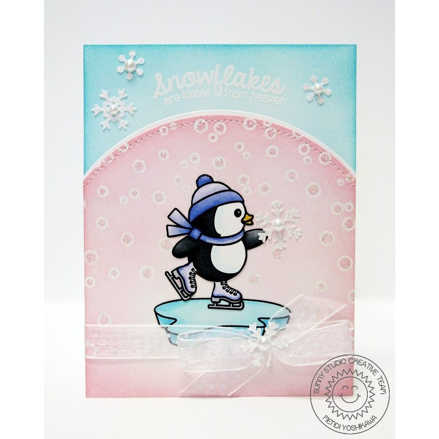 Sunny Studio Stamps Snow Kissed Ice Skating Penguin Card
